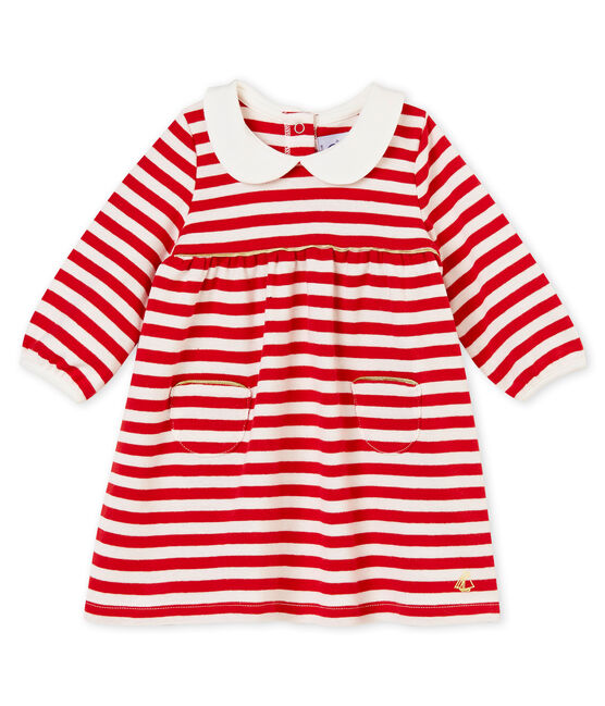 Baby girl's striped dress with collar Terkuit red / Marshmallow white