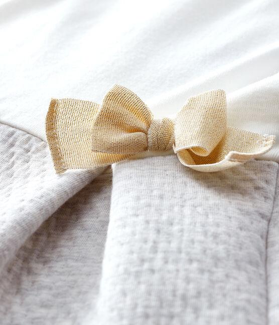 Baby Girls' Long-Sleeved Dual Material Dress Marshmallow white / Beluga grey