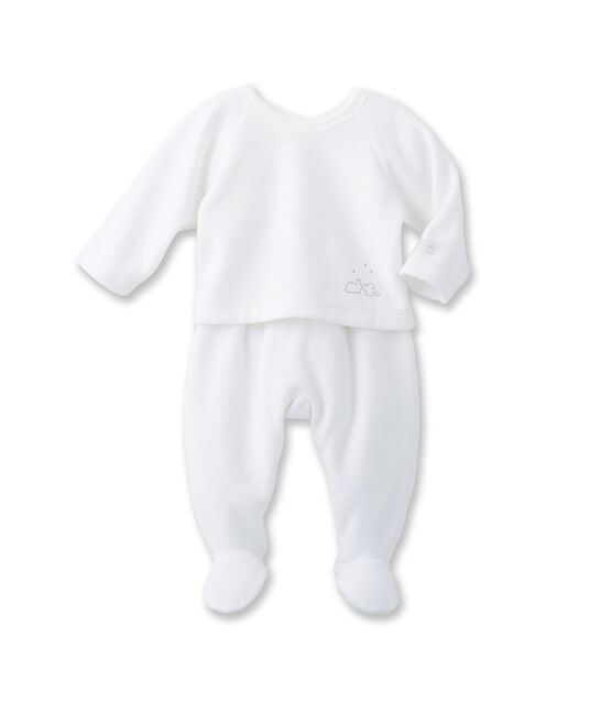 Unisex baby top and trouser set Ecume white / Gris grey