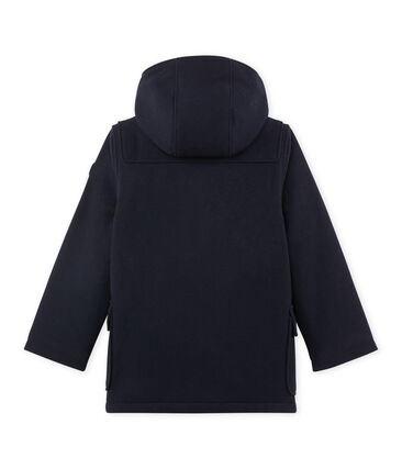 Boy's lined duffel coat in wool broadcloth Smoking blue