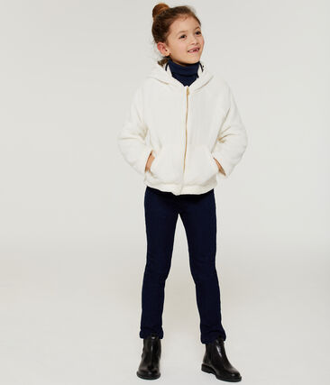 Girls' Sheepskin Fleece Sweatshirt Marshmallow white