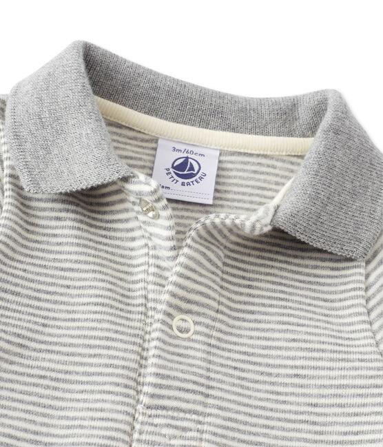 Baby boy's milleraies striped bodysuit Subway grey / Coquille beige