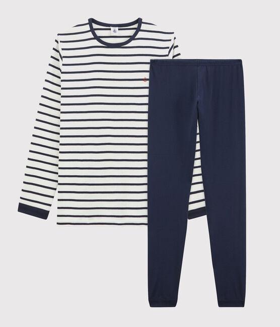 Children's Ribbed Pyjamas with Sailor Stripes Marshmallow white / Smoking blue