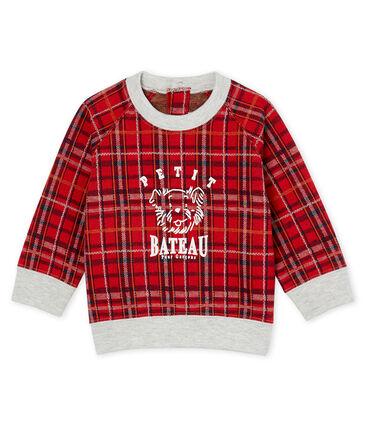 Baby Boys' Checked Knit Sweatshirt Terkuit red / Multico white