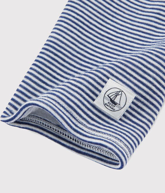 Children's Pinstriped Leggings in Wool and Cotton Medieval blue / Marshmallow white