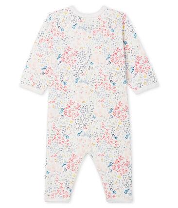 Baby Girls' Footless Tube-Knit Sleepsuit Marshmallow white / Multico Cn white