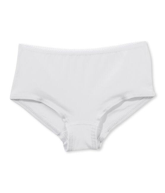 Girl's plain shorty Ecume white