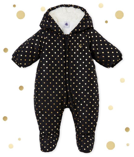 Baby girl's gold polka dot snowsuit Capecod grey / Dore yellow