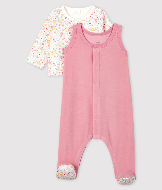 2-piece velvet baby set with pink flowers Charme pink / Multico white