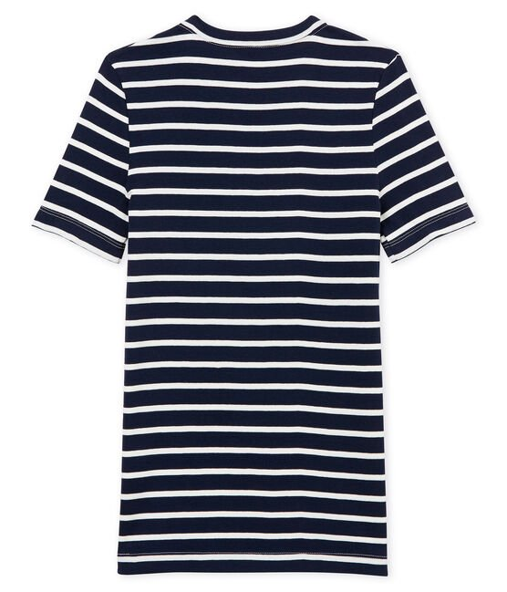 women's short sleeved striped t-shirt Smoking blue / Marshmallow white
