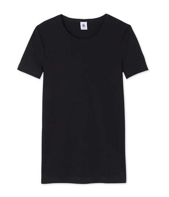Women's short-sleeved plain t-shirt Noir black