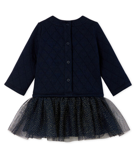 Baby Girls' Long-Sleeved Dual Material Dress Smoking blue