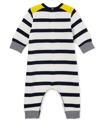 Baby boys' breton striped long all-in-one Marshmallow white / Smoking blue