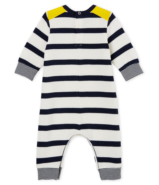 Baby boys' breton striped long all-in-one Marshmallow white / Smoking blue
