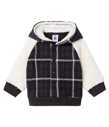Baby Boys' Checked Knit Sweatshirt with Sheepskin Sherpa City black / Multico white