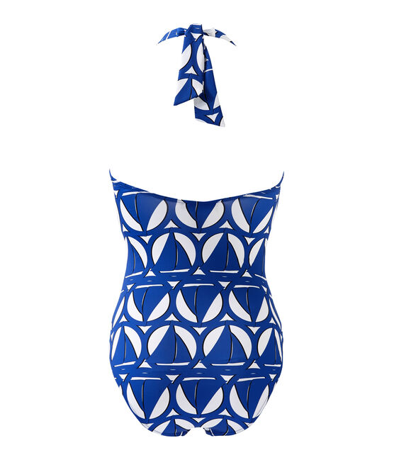 Women's printed one-piece swimsuit Marshmallow white / Perse blue