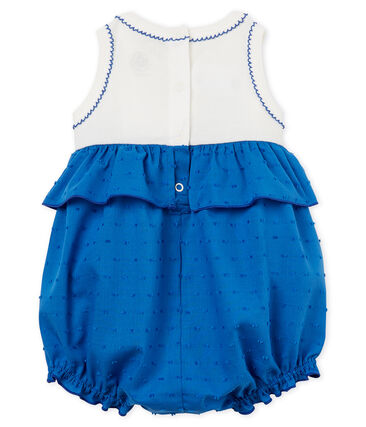 Baby girls' playsuit Marshmallow white / Cool blue