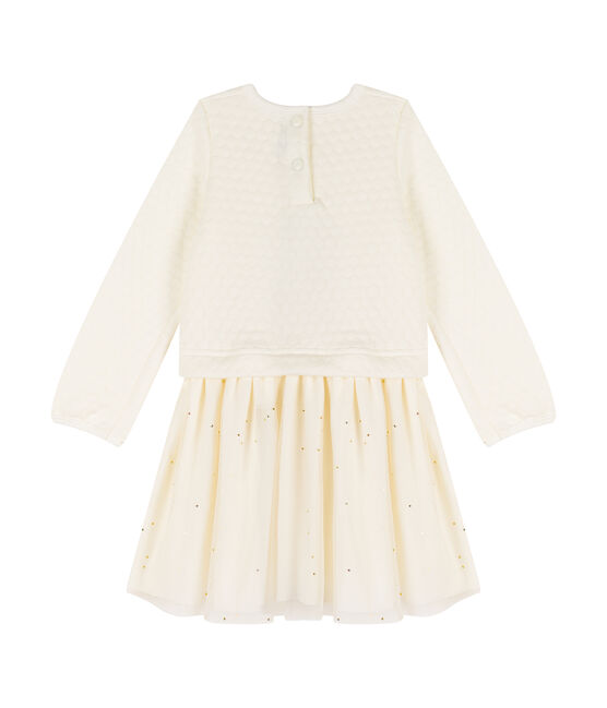 Girls' Dual-Fabric Dress Marshmallow white