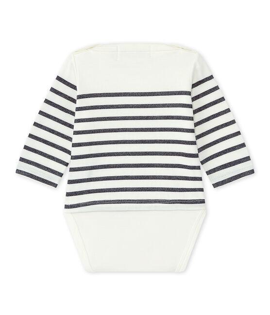 Long-sleeved sailor's bodysuit baby girl Marshmallow white / Smoking blue