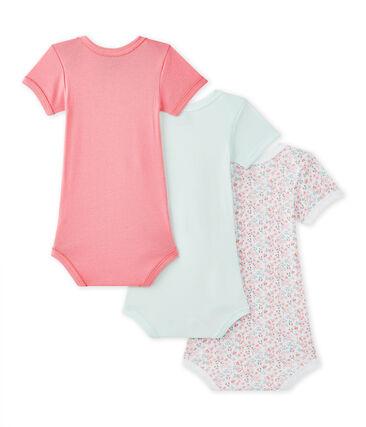 Set of 3 baby girls' short-sleeved bodysuits . set