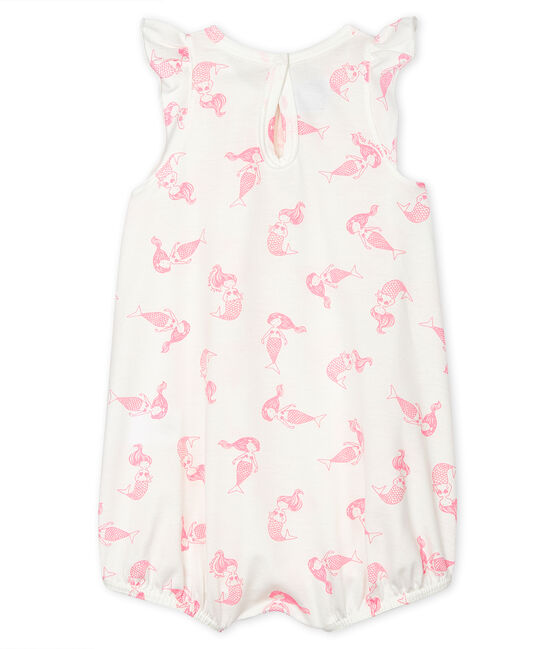 Baby Girls' Fine Jersey Playsuit Marshmallow white / Rose pink