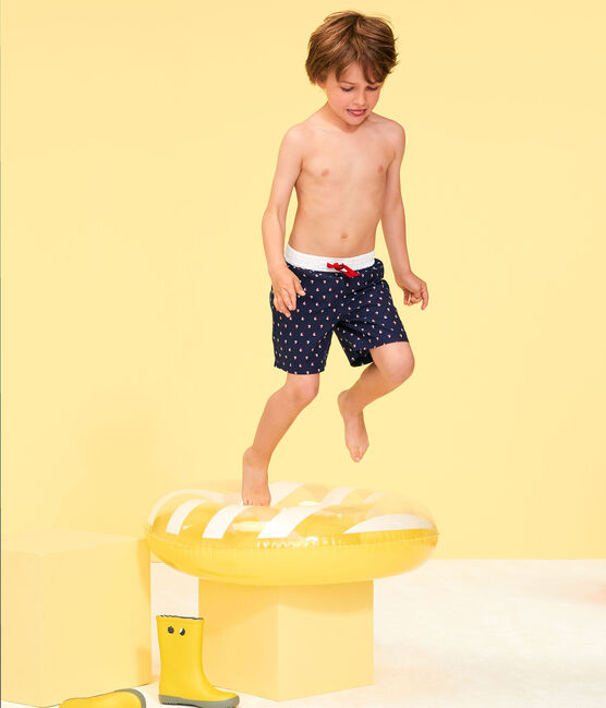 Boys' Beach Shorts Submarine blue / Multico white