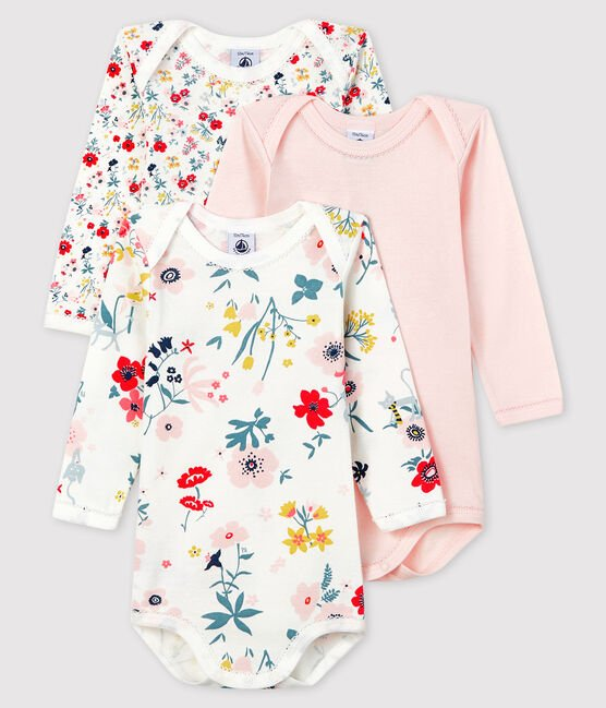 Baby girls' long-sleeved bodysuit - Set of 3 . set
