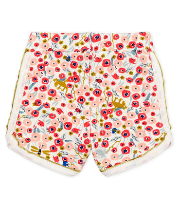 Baby girls' printed shorts Marshmallow white / Multico white