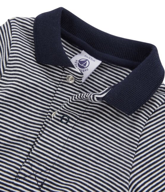 Baby Boys' Long-Sleeved Polo Shirt with Collar Smoking blue / Lait white