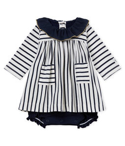 Baby girls' striped dress/bodysuit