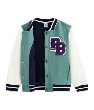 Boys' Baseball Jacket Brut blue / Marshmallow white