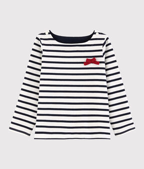 Girls' Jersey Breton Top Marshmallow white / Smoking blue