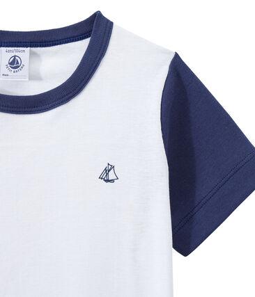Boy's two-color shortie pyjamas Chaloupe blue / Ecume white