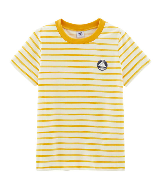 Boys' Short-sleeved T-shirt Coquille beige / Boudor yellow