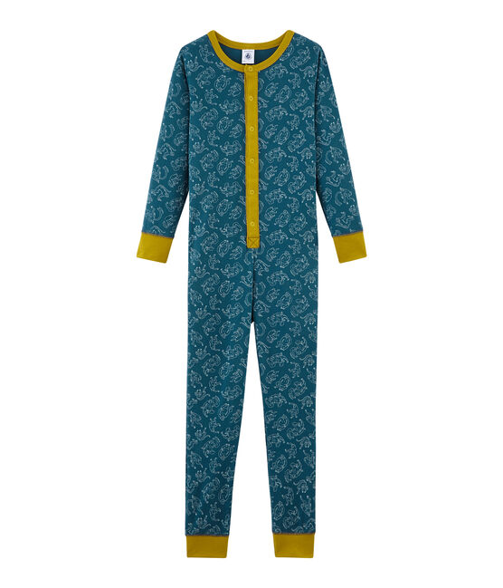 Boys' Long Onesie in Cotton Shadow blue / Marshmallow white