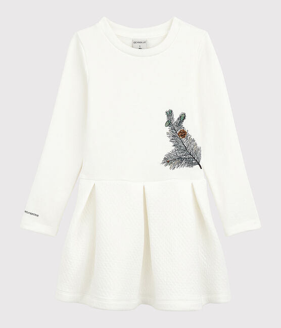 Petit Bateau x Deyrolle Girls' Dress Marshmallow white