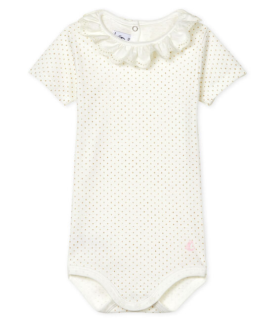 Baby Girls' Dress with Ruff Marshmallow white / Or yellow