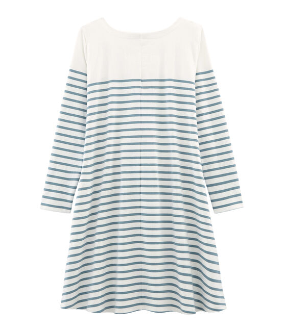 Women's long-sleeved dress Marshmallow white / Fontaine blue