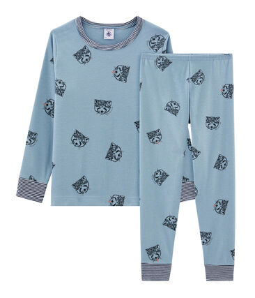 Boys' Ribbed Pyjamas Acier blue / Multico white