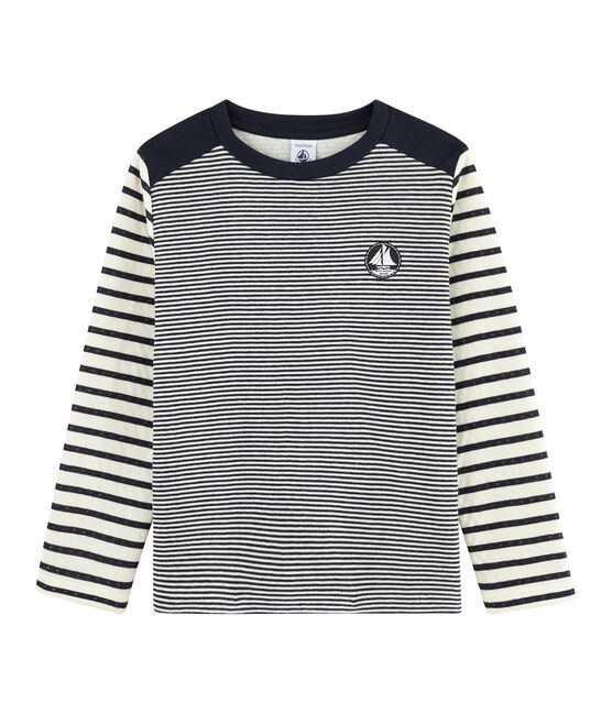 Child's striped T-shirt Smoking blue / Marshmallow white