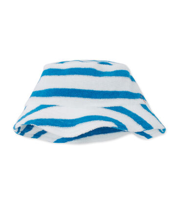 Baby boys' bucket hat in striped terry cloth bouclette