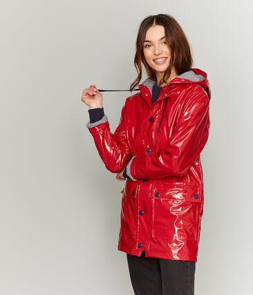 Women's glossy Raincoat Terkuit red