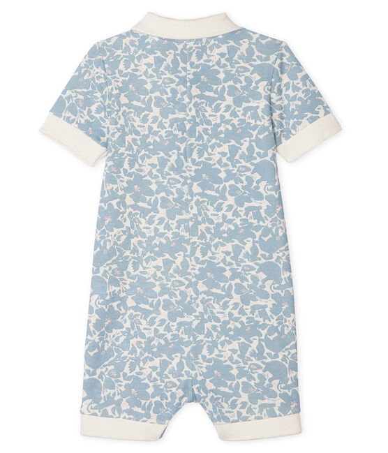 Print polo shirt playsuit for baby boys Marshmallow white / Multico white