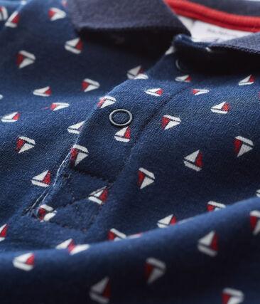 Baby boys' printed bodysuit with polo shirt collar