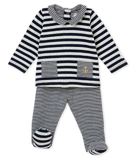 Unisex baby's 2 piece set in a striped tubic Smoking blue / Marshmallow white