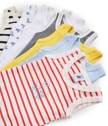 Surprise pack of 7 sleeveless bodysuits for baby boys