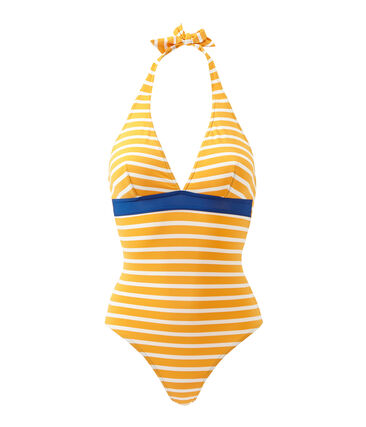 Women's striped one-piece swimsuit