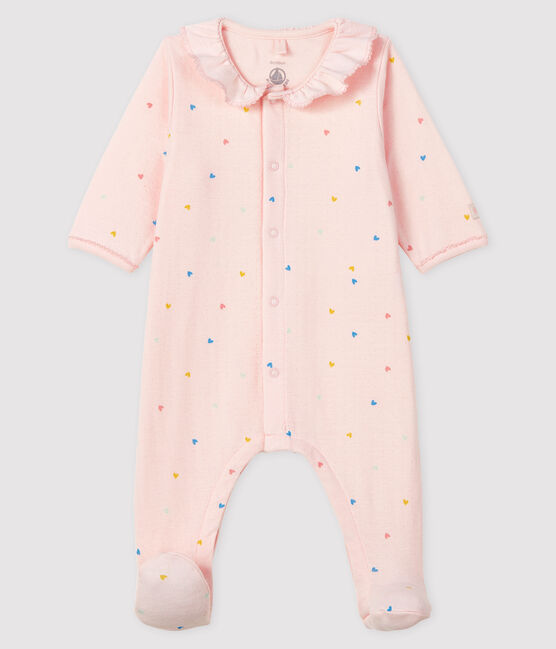 Baby Girls' Tube Knit Pink Sleepsuit with Hearts Fleur pink / Multico white