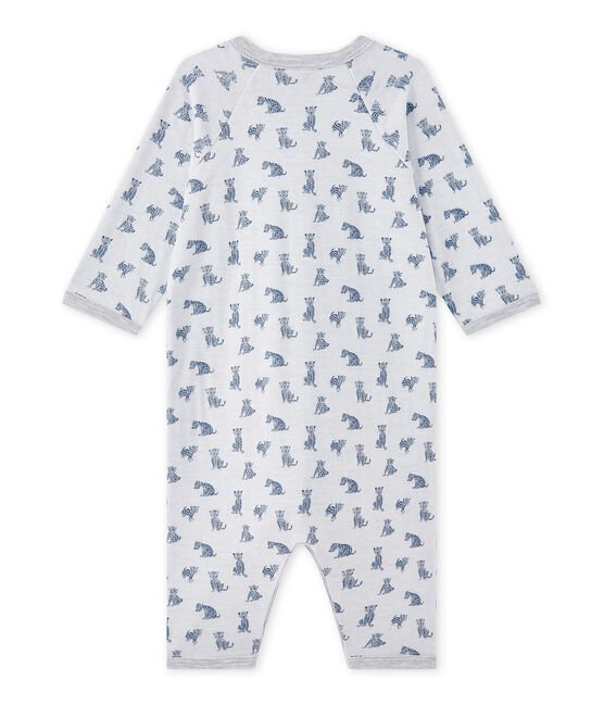 Baby boy's footless sleepsuit in a double knit Ecume white / Multico white
