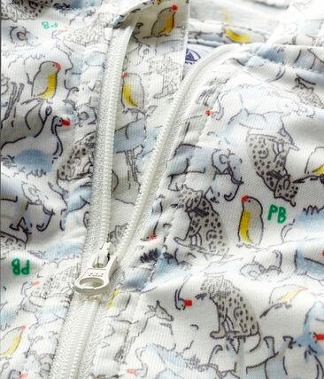 Unisex print windbreaker for babies Marshmallow white / Brut blue